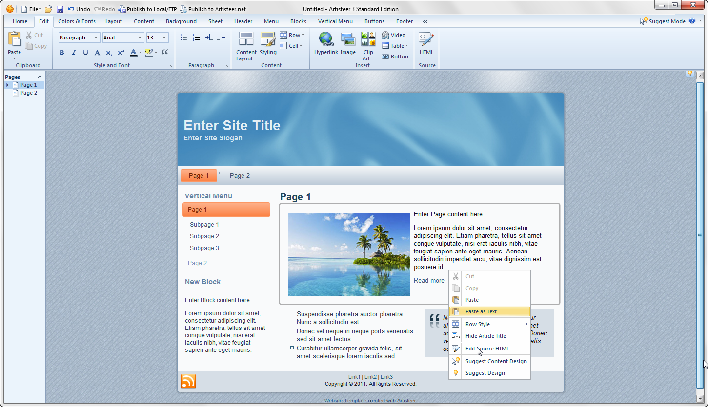 microsoft word website templates